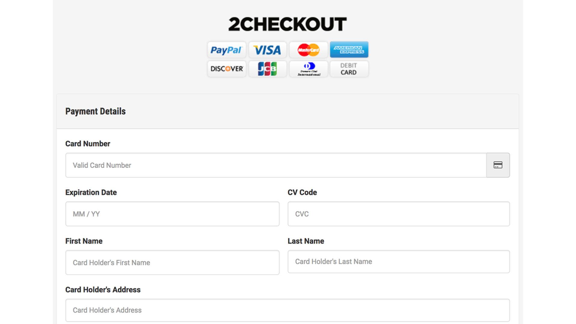 payment gateway 2checkout checkout page