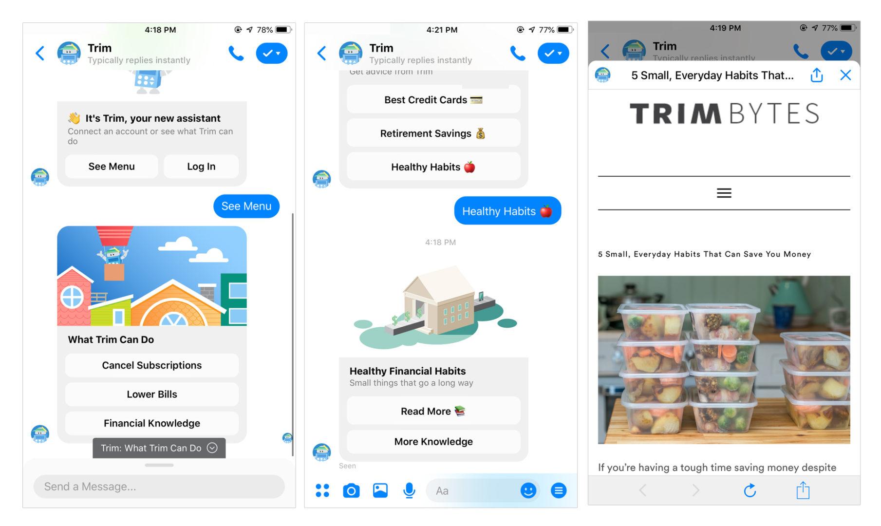 online conversation with trim chatbot